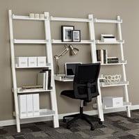 Linea Leaning Desk & Bookcases White