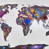 Stars world map Art Print by Guido Montañés