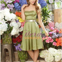 Popular Short Green Taffeta Bridesmaid Dress