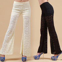 lulula-fashion shopping mall —elegant sweet lace bell-bottoms Wide leg pants trousers