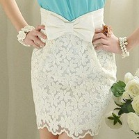 wishlove —Embroidered lace elegant noble bowknot Short skirts