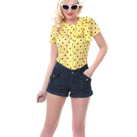 Yellow & Black Polka Dot Gala Blouse - Unique Vintage - Prom dresses, retro dresses, retro swimsuits.