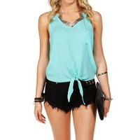 Mint Tie Front Sleeveless Top