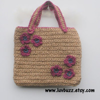 Natural Jute Crochet Purse with Floral Embelishements, ready to ship.