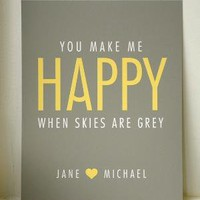 YOU MAKE ME HAPPY // personalised art print // by twoforjoypaper