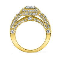 Engagement Ring - Cushion Diamond Legacy Engagement Ring graduated Pave Halo in 14K Yellow Gold - ES876CUYG