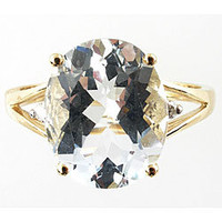 14k Yellow Gold Light Blue Oval-cut Aquamarine and Diamond Ring | Overstock.com