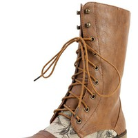 Lug-22f Tan Lace Up Floral Combat Boots | MakeMeChic.com