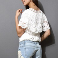 Lace Crochet Cape White Top