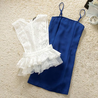 Two-piece package hip stretch dress elegant fair maiden cultivate one's morality dress