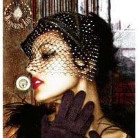 The Bianca - Black Cocktail Hat with Swarovski Crystal Net Birdcage Veil - Art Deco Revival - by Moonshine Baby