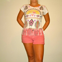 Upcycled Fringed Aztec Tribal Festival Top, Colorful Hippie Shirt
