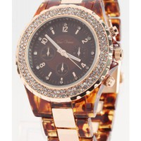 Crystallized Tortoise Shell Watch