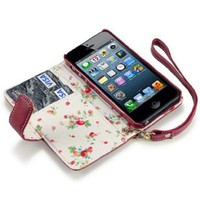 iPhone 5 Premium Faux Leather Wallet Case with Floral Interior (Red):Amazon:Cell Phones & Accessories