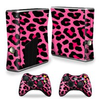 Protective Vinyl Skin Decal Cover for Microsoft Xbox 360 S Slim + 2 Controller Skins Sticker Skins Pink Leopard:Amazon:Video Games