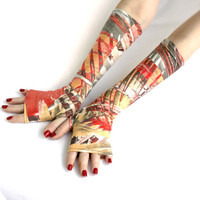 Street Fashion Abstract Fingerless gloves - mittens, Tribal Style, Stretchy, Orient, Belly Dance, Gypsy, Fusion Dance, Brown ,Red Gold, Grey