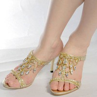 Women Shiny Crystal High Heels Sandals Shoes