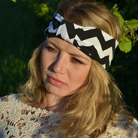 Chevron Wide Turband Headband, Jersey Headwrap, Hair wrap, Turban Stretchy hairband