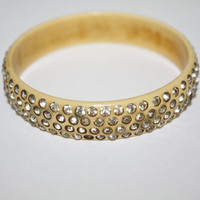 Vintage Celluloid Bracelet Rhinestone Bangle Art Deco 1930s Jewelry
