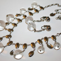 Vintage Lucite Orb Bib Necklace Earring Set 1960s Jewelry