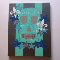 Blue skull acrylic canvas painting for baby boy nursery