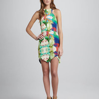 Printed Jagged-Hem Dress