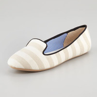 Tropez Striped Slip-On Loafer, White/Tan
