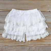 Lace Bloomers in White, Women's Sweet Bohemian Clothing