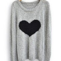 Light Grey Love Loose Heart Long Sleeve Sweater