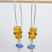 Blue and Amber Glass Beads on Long Silver-Plated Earwires