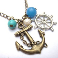 Antiqued Brass Anchor Helm Blue Agate Turquoise Necklace by gemandmetal