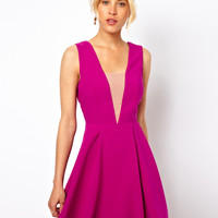 ASOS Deep Plunge Mesh Insert Skater Dress