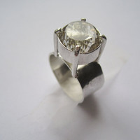 Ring Sterling Silver Prasiolite in Claw Setting ooak