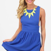 Royal Blue Sleeveless Skater Dress with Low Cute Sides