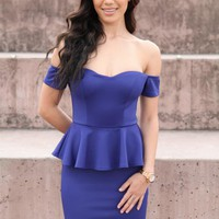 Blue Off the Shoulder Bodycon Dress with Peplum Waist