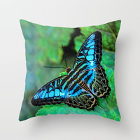 BUTTERFLY BLUE Throw Pillow by catspaws