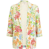 Cream 3/4 sleeve floral blazer - blazers  - coats / jackets - women