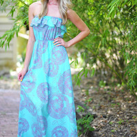 Kiss Me In The Rain Maxi Dress: Teal | Hope's