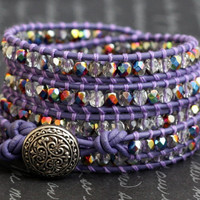 purple leather wrap bracelet with iridescent crystal