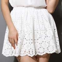 White Floral Eyelet Cutout Skirt with Scrolled Hemline