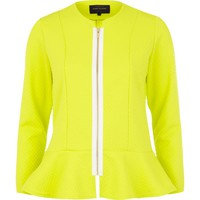 Lime fluro textured peplum jacket