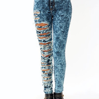Destroyed-Acid-Wash-Jeans DKBLUE - GoJane.com