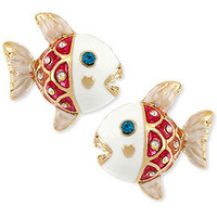 Betsey Johnson Earrings, Antique Gold-Tone Fish Stud Earrings - Juniors Jewelry & Watches - Macy's