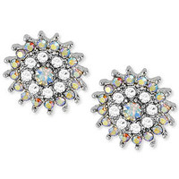 Betsey Johnson Earrings, Silver-Tone Crystal Flower Stud Earrings - Juniors Jewelry & Watches - Macy's