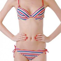 Multi Color Striped Print Bikini with Tie Bottom Detail