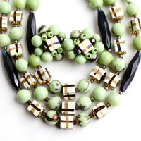 SALE - Vintage Green & Black Beaded Necklace, Earring Set -  Demi Parure Retro Wood, Lucite Bead Costume Jewelry / Hand Painted Squares