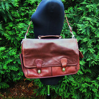 distressed brown leather crossbody messenger brief case. distressed messenger bag. distressed satchel. valise. rucksack.c omputer bag