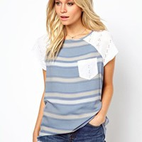 ASOS T-Shirt in Stripe Chambray and Broderie at asos.com