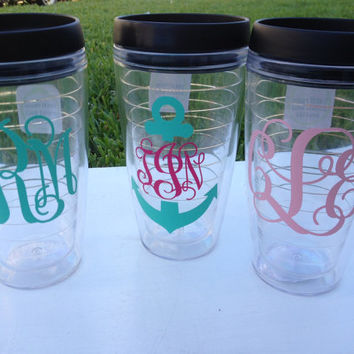 Monogram Tumbler / Travel Mug with Sip Lid