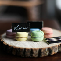 Adorable Handmade French Macarons (Macaroon) Place Card Holders - Set of 6 with Mini Wood Chalkboards